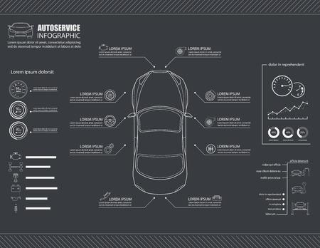자동차 자동 서비스 정보 그래픽 디자인