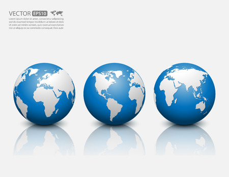 blue earth: globe icon Illustration
