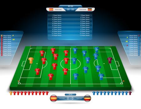 cancha de futbol: campo de fútbol con marcador Vectores