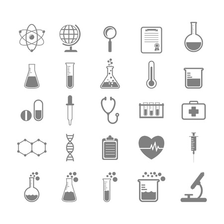 chemically: Set of Science and chemistry icons Illustration
