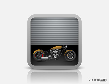 cruiser bike: Motorcycle behind garage door Illustration