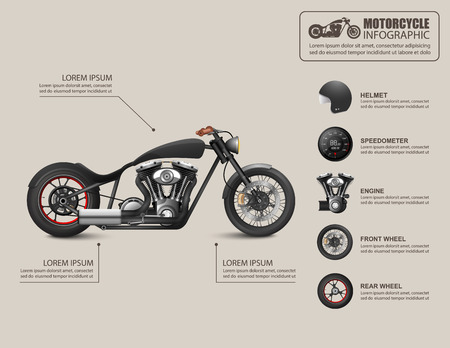 cruiser bike: Motorcycle infographic Illustration