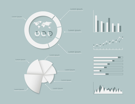 Set of graph modern info graphic elements