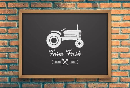 tractor sign: Farm fresh with tractor icon on chalkboard.vector Illustration