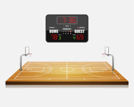 canestro basket: illustrazione vettoriale di campo di pallacanestro 3d con un quadro di valutazione.