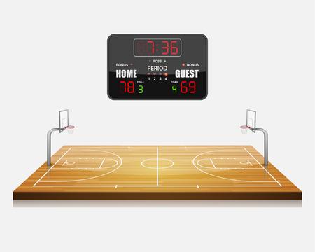 cancha de basquetbol: ilustración vectorial de campo Baloncesto 3d con un marcador. Vectores