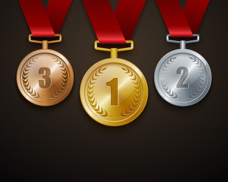 silver ribbon: Set of gold, silver and bronze medals. vector Illustration
