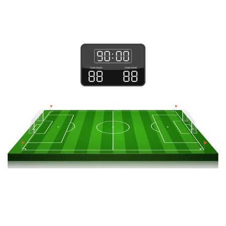 cancha de futbol: campo de fútbol de vector con marcador, vector