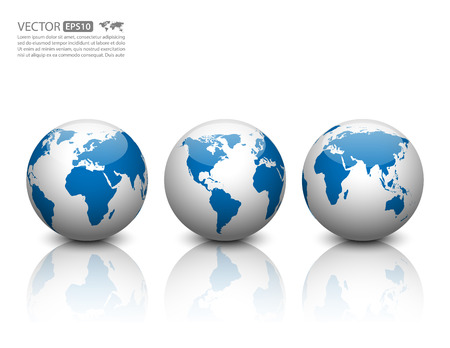 world map blue: Vector globe icon.