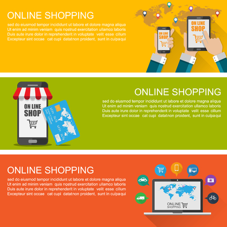 Online shopping concept ,Modern Flat Design Banner ,vector