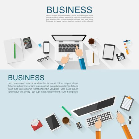 document management: Business workplace concept flat design,vector