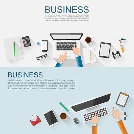 data management: Business workplace concept flat design,vector