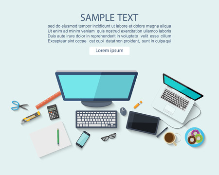 table top: Workplace concept ,Flat design,vector Illustration