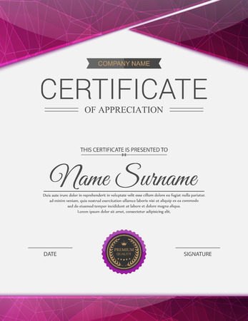 ornate border: Vector certificate template. Illustration