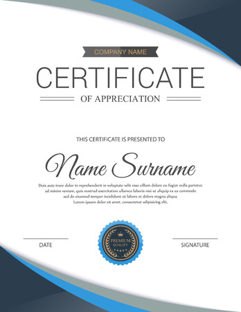 design layout: Vector certificate template. Illustration