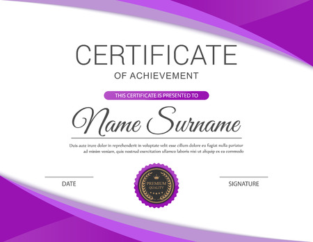 Vector certificate template. Stock Illustratie