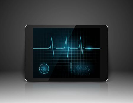 electronic background: Tablet with heart cardiogram on screen,vector