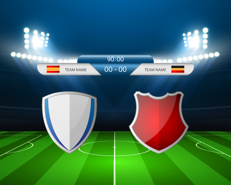 balon de futbol: Campo de fútbol - ilustración vectorial