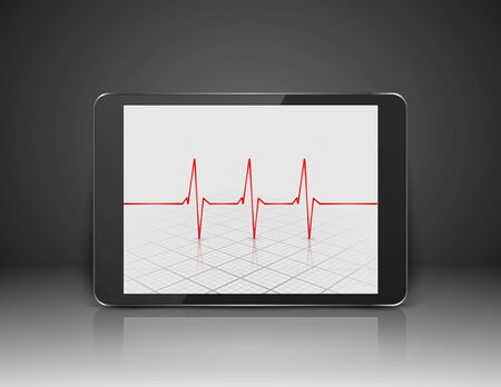 heart ekg trace: Tablet with heart cardiogram on screen,vector