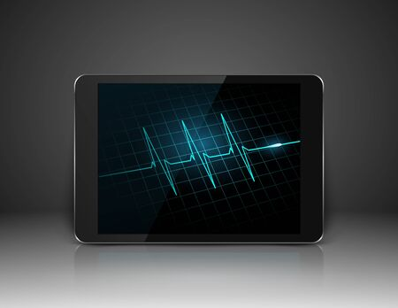 cardiogram: Tablet with heart cardiogram on screen,vector