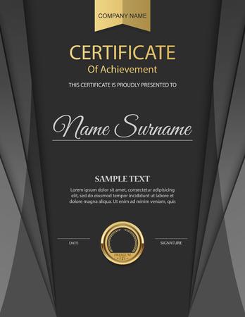 vítěz: Vector šablona certifikátu. Ilustrace