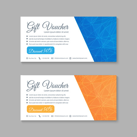 Voucher, Gift certificate, Coupon template. Иллюстрация