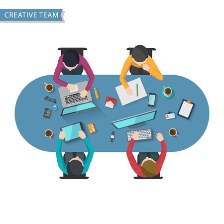 teamwork cartoon: Office Worker, Business Meeting,Flat design