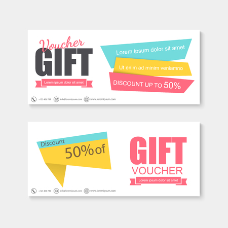 cut price: Voucher, Gift certificate, Coupon template. Illustration