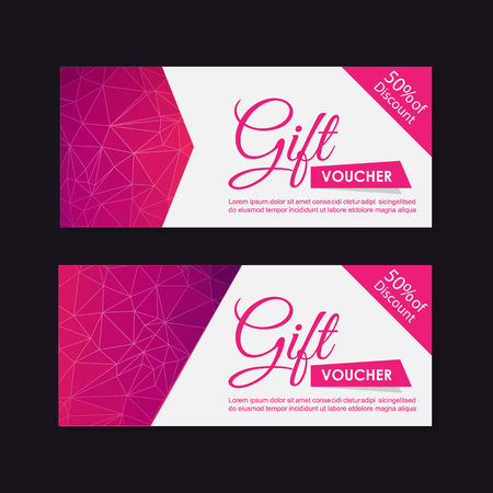 Voucher, Gift certificate, Coupon template.  イラスト・ベクター素材