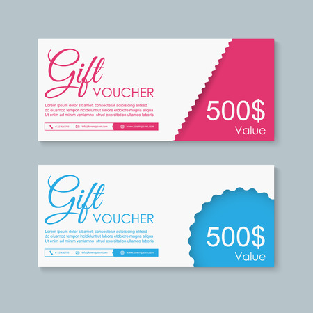 Voucher, Gift certificate, Coupon template. Иллюстрация