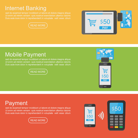 mobile banking: Internet banking, mobile payment banner ,vector