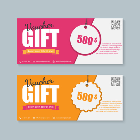 birthday gifts: Voucher, Gift certificate, Coupon template. Illustration