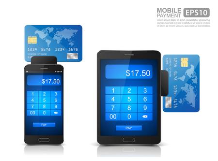 クレジット カードから携帯電話の支払い処理とスマート フォン、モバイル決済アイコン ベクトル