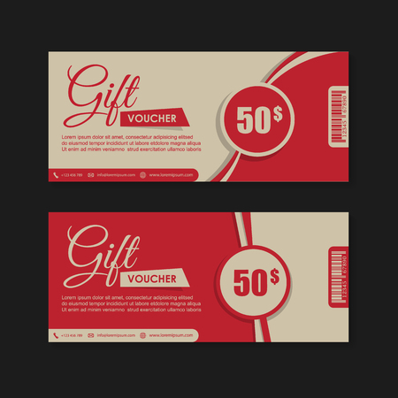gift tag: Voucher, Gift certificate, Coupon template. Illustration