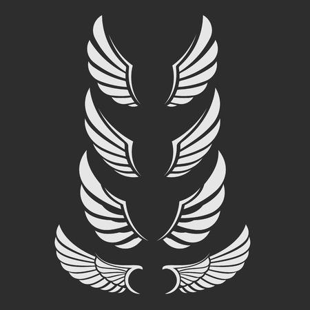 Vector wing icon set. 일러스트