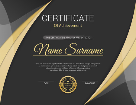 honour: Vector certificate template. Illustration