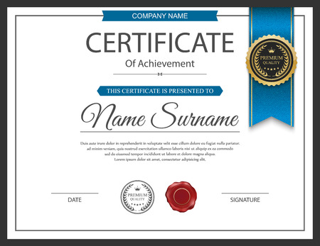 diploma border: Vector certificate template. Illustration