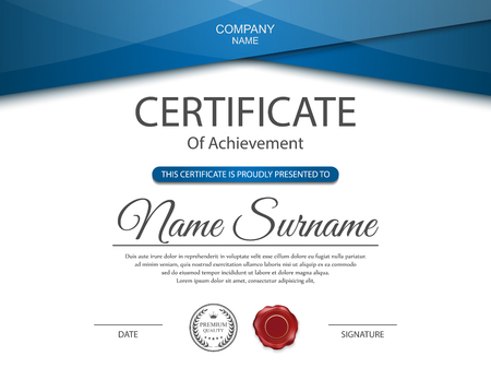 achievement: Vector certificate template. Illustration