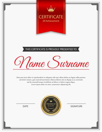 Plantilla de certificado vector. Foto de archivo - 45305414