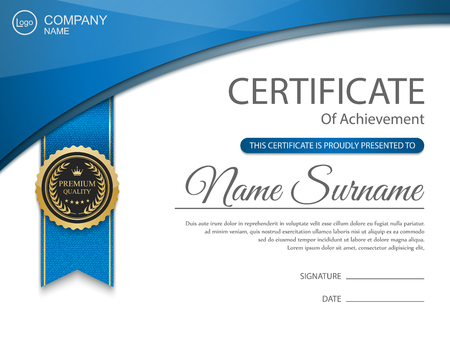 achieve: Vector certificate template. Illustration