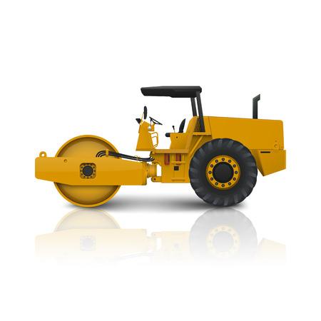 maquinaria: Rodillo de camino aislado en fondo blanco