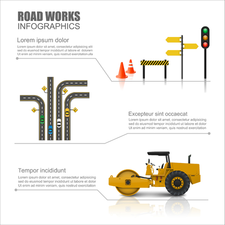 Road worker infographics,vector