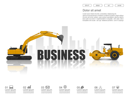 commence: Business concept with construction machines,vector