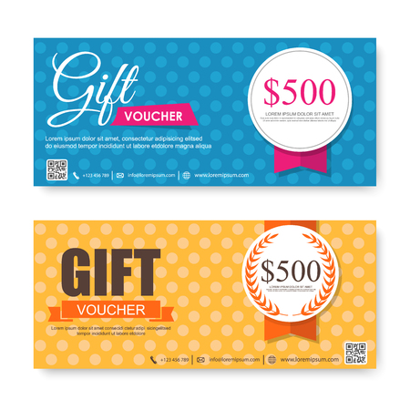 free gift: Voucher, Gift certificate, Coupon template. Illustration