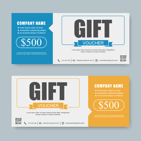 discount banner: Voucher, Gift certificate, Coupon template. Illustration
