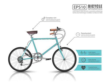 bicicleta vector: infografía en bicicleta, vector