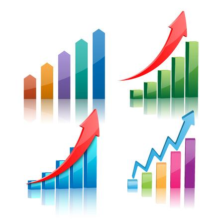 incremento: Ilustración vectorial de gráfico 3d Vectores