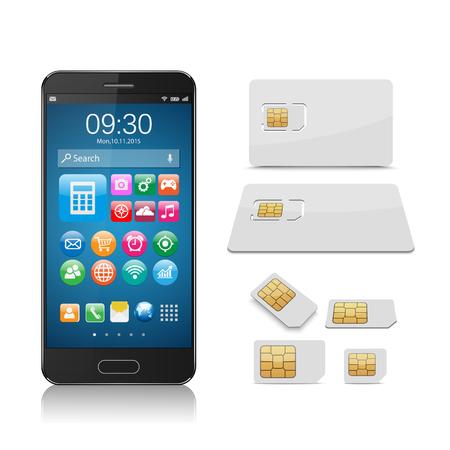 zellen: Smartphone mit SIM-Karte isoliert auf weißem Hintergrund, Vektor-