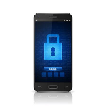 closed lock: Smartphone with closed lock,vector Illustration