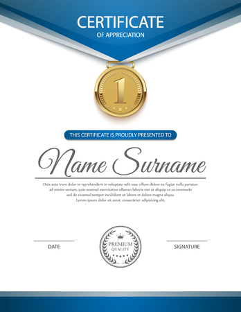 seal: Certificate template, vector Illustration